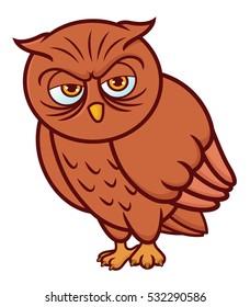 vector illustration happy owl cute cartoon stock vector royalty