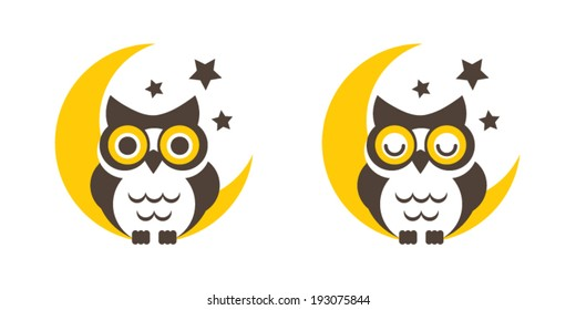 Owl cartoon on the moon vector,icon,graphic,symbol.