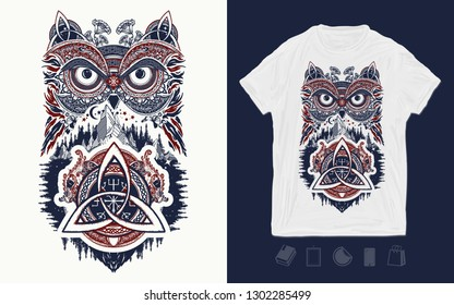Owl and celtic dragons. Print for t-shirts and another, trendy apparel design. Symbol of wisdom, meditation, thinking, tourism, adventure