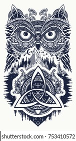 Owl and celtic dragons tattoo art. Symbol of wisdom, meditation, thinking, tourism, adventure