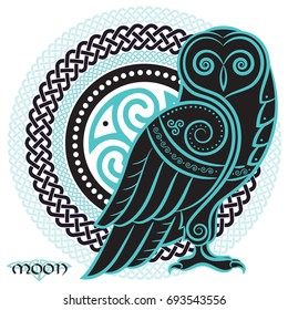 Owl in Celtic style, on the background of the Celtic moon ornament, isolated on white, vector illustration