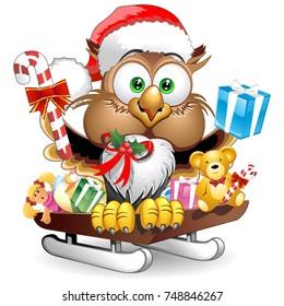 Owl Christmas Santa Happy Face Character