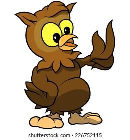 Owl - Colored Cartoon Illustration, Vector