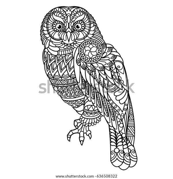 Owl Coloring Book Adults Stock Vector (Royalty Free) 636508322