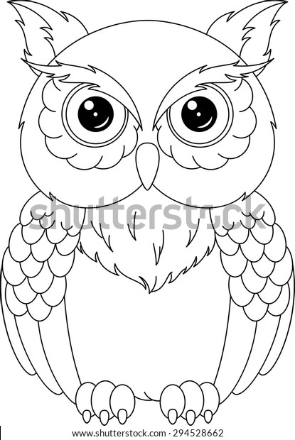 Owl Coloring Page Stock Vector Royalty Free 294528662