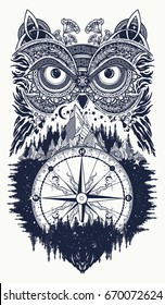 Owl and compass tattoo art. Symbol of wisdom, meditation, thinking, tourism, adventure