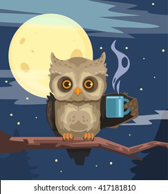 Owl with cup of coffee. Vector flat cartoon illustration