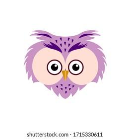 owl - cute simple animal head. Cartoon portrait in a flat design. Vector illustration