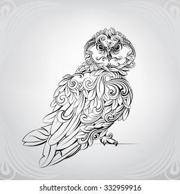 Owl in a deciduous ornament