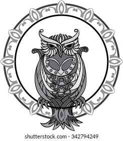 Owl and a decorative pattern. Black and white illustration. Set A.