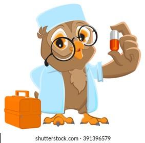 Owl doctor holding pill. Isolated on white cartoon illustration