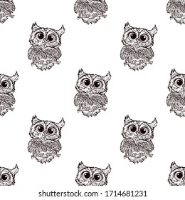 OWL doodle seamless pattern. Vector background with owl heads can be used for  textile, tshirt, wallpapers, posters. Vector illustration.