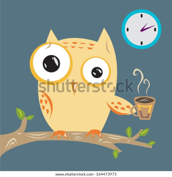 Owl drinking coffee and can't sleep vector flat style illustration