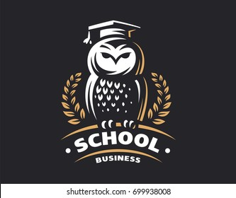 Owl education logo - vector illustration. Emblem design on black background.