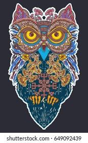 Owl in ethnic celtic style t-shirt design. Symbol of wisdom, meditation, thinking, philosophies, poetry