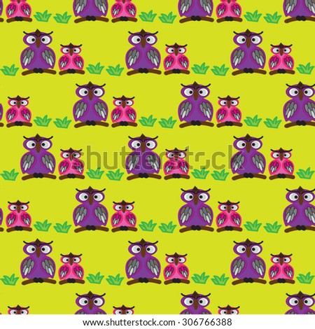 owl family backgrounds pattern seamless stock vector royalty free
