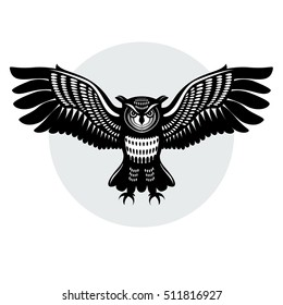 Owl in flight, with outstretched wings and claws released. The silhouette of the lines. Logo. eps8