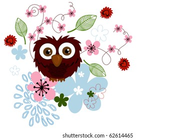 owl and flower