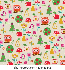 owl and flowers pattern