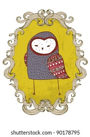 owl frame vector/illustration