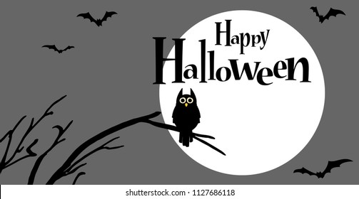 owl in front of full moon with scary illustrated elements for Halloween background layouts