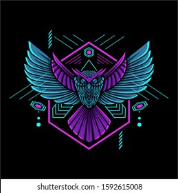 owl geometric mascot with neon color