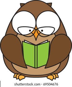 owl with glasses reading