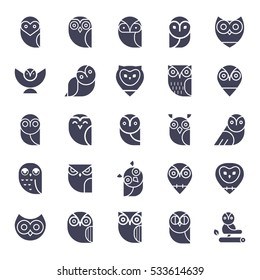 Owl glyphs icons collection. Set of elements and emblems design elements for schools, educational signs. Unique illustration for design.