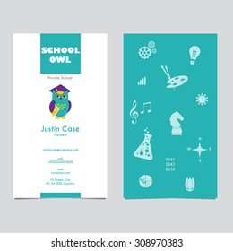 Owl business card concept images stock photos vectors shutterstock owl in graduate hat holding a book educational icon template business card school colourmoves