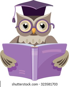 owl in the graduate's cap with the open book