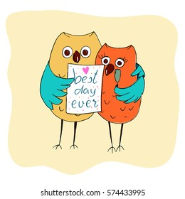 owl owl groom embraces the bride one wing and they're holding a sign saying best day ever