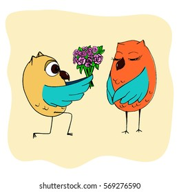 owl the groom is on one knee and holds out the owl bride bouquet