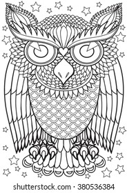 Owl. Hand drawn vector illustration.
