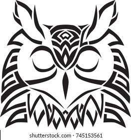 Owl head celtic art tribal tattoo design