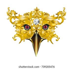Owl head with golden metal elements