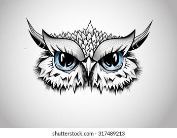 Owl Head - Guardian of the Night - line art illustration