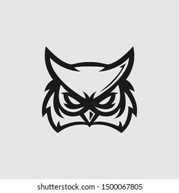 Owl head logo gaming esport in black and white