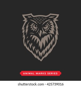 Owl Head Symbol. Great for Badge Label Sign Icon Logo Design. Quality Owl Emblem. Premium Retro Style Drawing. Hand crafted Vector illustration. Authentic Vintage Graphics.