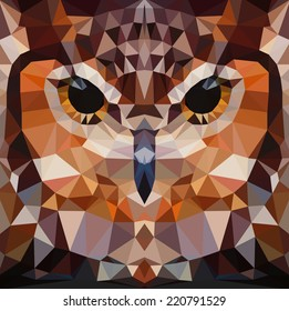 Owl head vector background, geometric modern illustration
