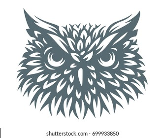 Owl head - vector illustration. Icon design on white background.