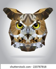 Owl head vector isolated, geometric modern illustration