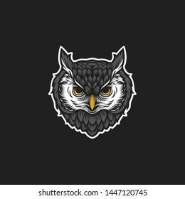 owl head vector logo illustration