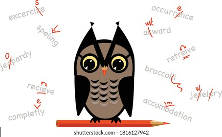 Owl holds red pencil doing proofreading and spellchecking services