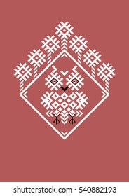 Owl in the hollow of the elements of the Belorussian,Russian and Slavic  ornament. Traditional national cross-stitch.