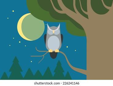 Owl in a hollow tree night forest habitat flat design cartoon vector wild animals birds. Flat zoo nature children collection.