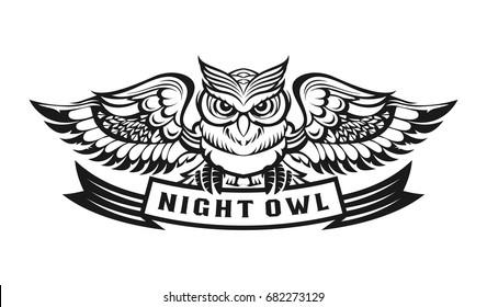 owl illustration of logo template