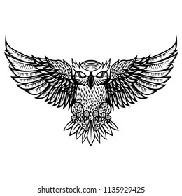 Owl illustration in tribal style. For poster, print, card, banner. Vector image