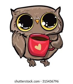 owl illustration Vector drinking coffee, bird