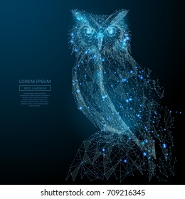 Owl isolated from low poly wireframe on dark background. Wild bird of prey. Vector polygonal image in the form of a starry sky or space, consisting of points, lines, and shapes in the form of stars
