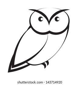 Cartoon Owl Black White Stock Vector Royalty Free 143714917